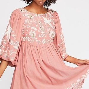 NWOT Free People Embroidered Babydoll Dress